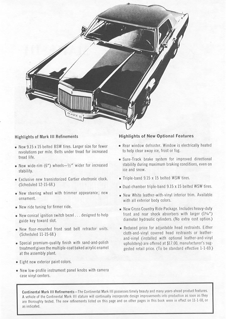 lincoln continental mark iii   facts and features